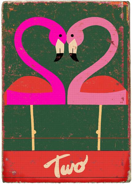 Two kitsch-tastic flamingos