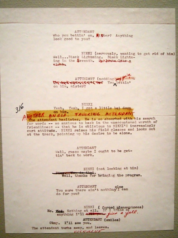 Script pages proving that - like any good creator - Kubrick edited until something was right