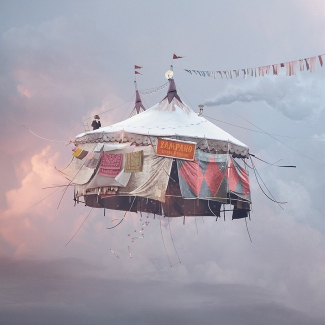 A photo from Laurent Chehere;s Flying Houses series, currently on display at the Muriel Guepin Gallery in New York City