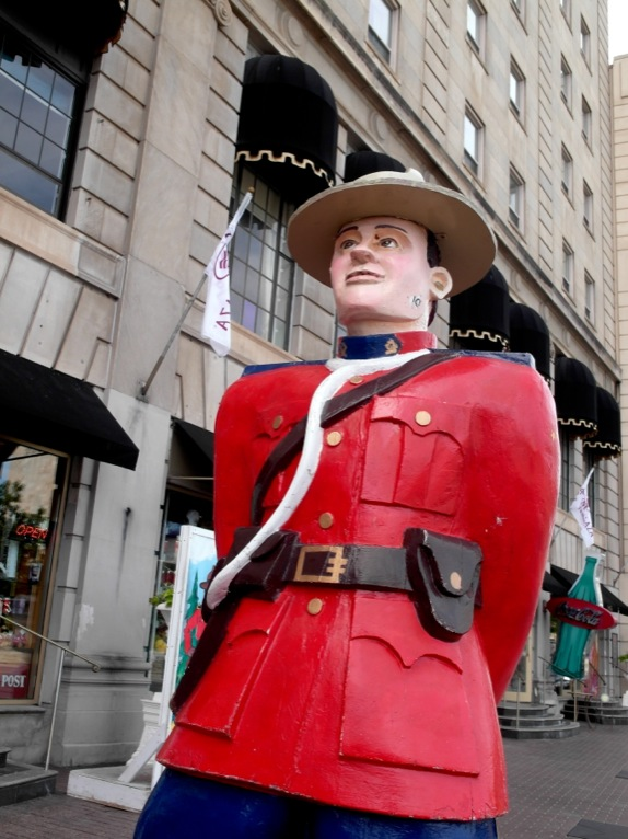 A giant statue of a Mounty (the Royal Canadian Mounted Police)
