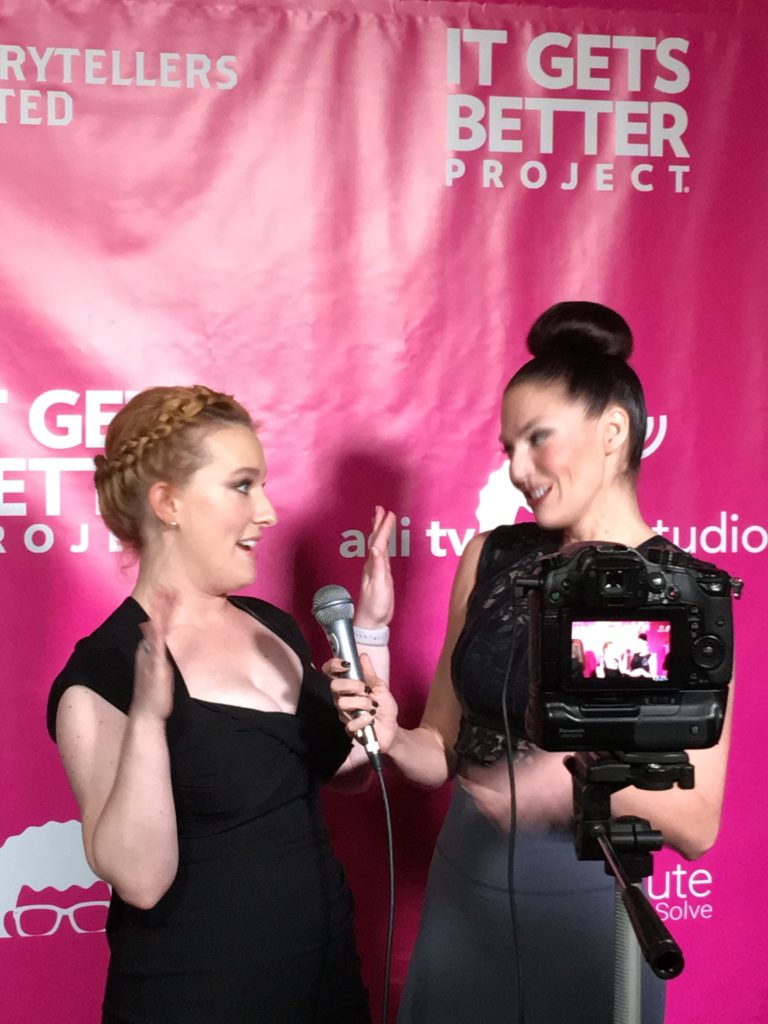 """Jennifer Coté on the """"pink carpet"""" with It Gets Better Project. #itgetsbetter"""