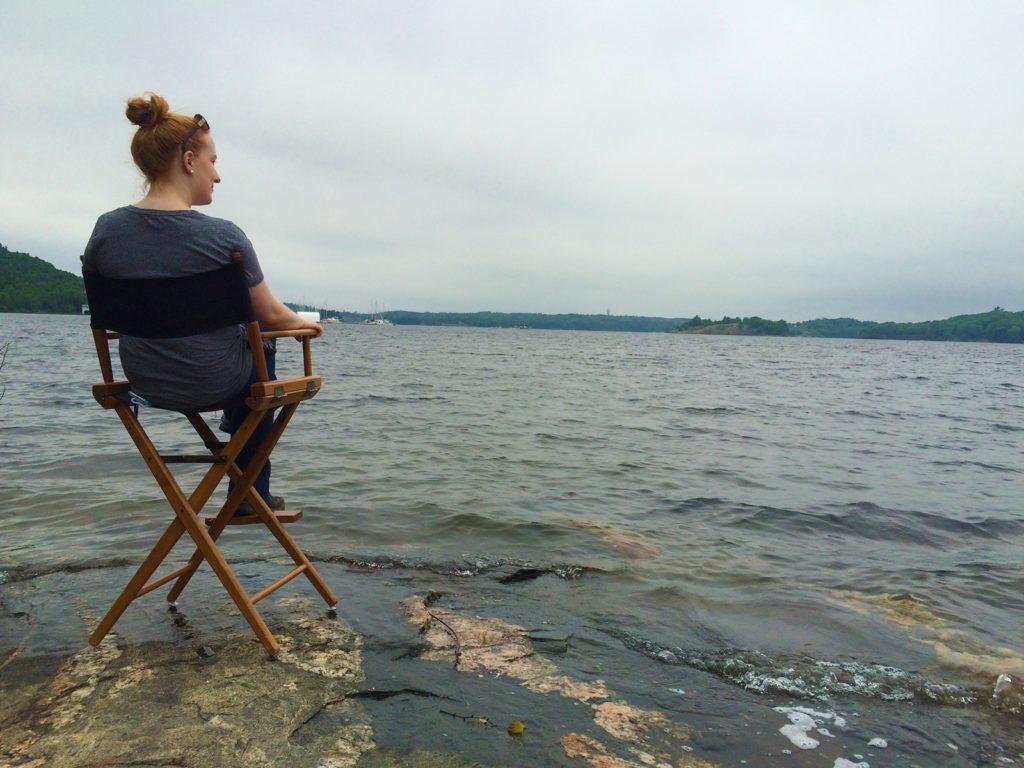 Jennifer Coté shooting EYEWITNESS on location in Muskoka Lakes, Ontario, Canada.